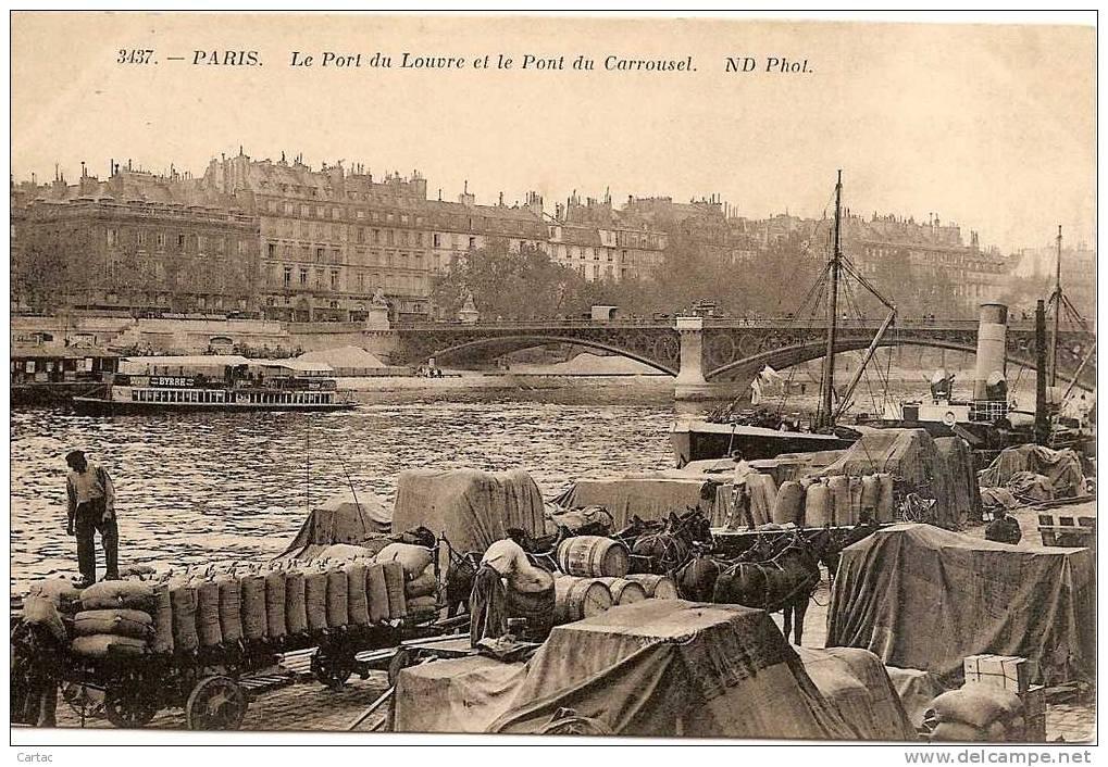 D75 - PARIS -  LE PORT DU LOUVRE ET LE PONT DU CARROUSEL - La Seine Et Ses Bords