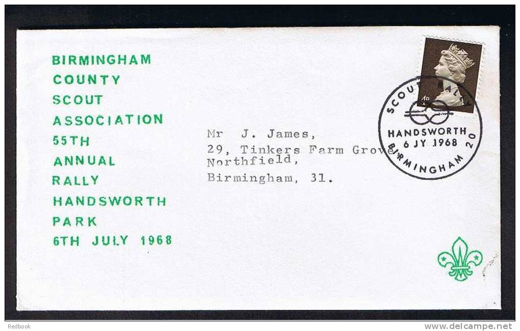 RB 683 -  1968 Cover - 55th Rally Of Birmingham Scouts Handsworth Park - Scouting Scout Theme - Special Postmark - Scouting