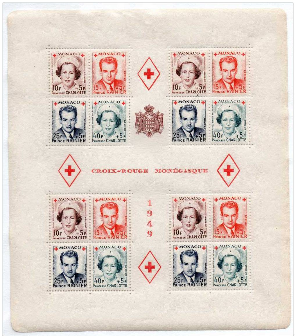 EMISSION DE 1949 AU PROFIT DE LA CROIX ROUGE MONEGASQUE BLOC DE 4 SERIES DENTELEES - Non Classés