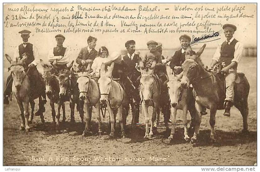 Royaume Uni - Uk -ref A60-weston Super Mare - Donkeys - Ane- Anes   - Postcard In Good Condition - - Weston-Super-Mare