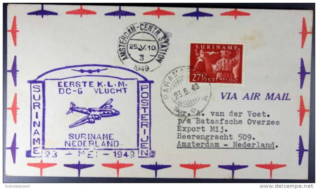 Suriname 23 Mei 1949 Eerste KLM DC 6 Vlucht Naar Nederland, LP 31 Frankering - Suriname ... - 1975