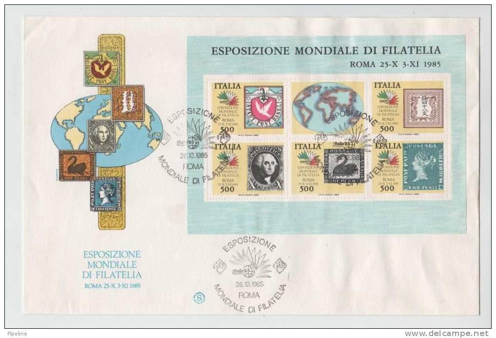 Italy FDC Roma 26-10-1985 Stamp Sheet Italia 85  WORLD PHILATELIC EXHIBITION With Nice Cachet - Expositions Philatéliques