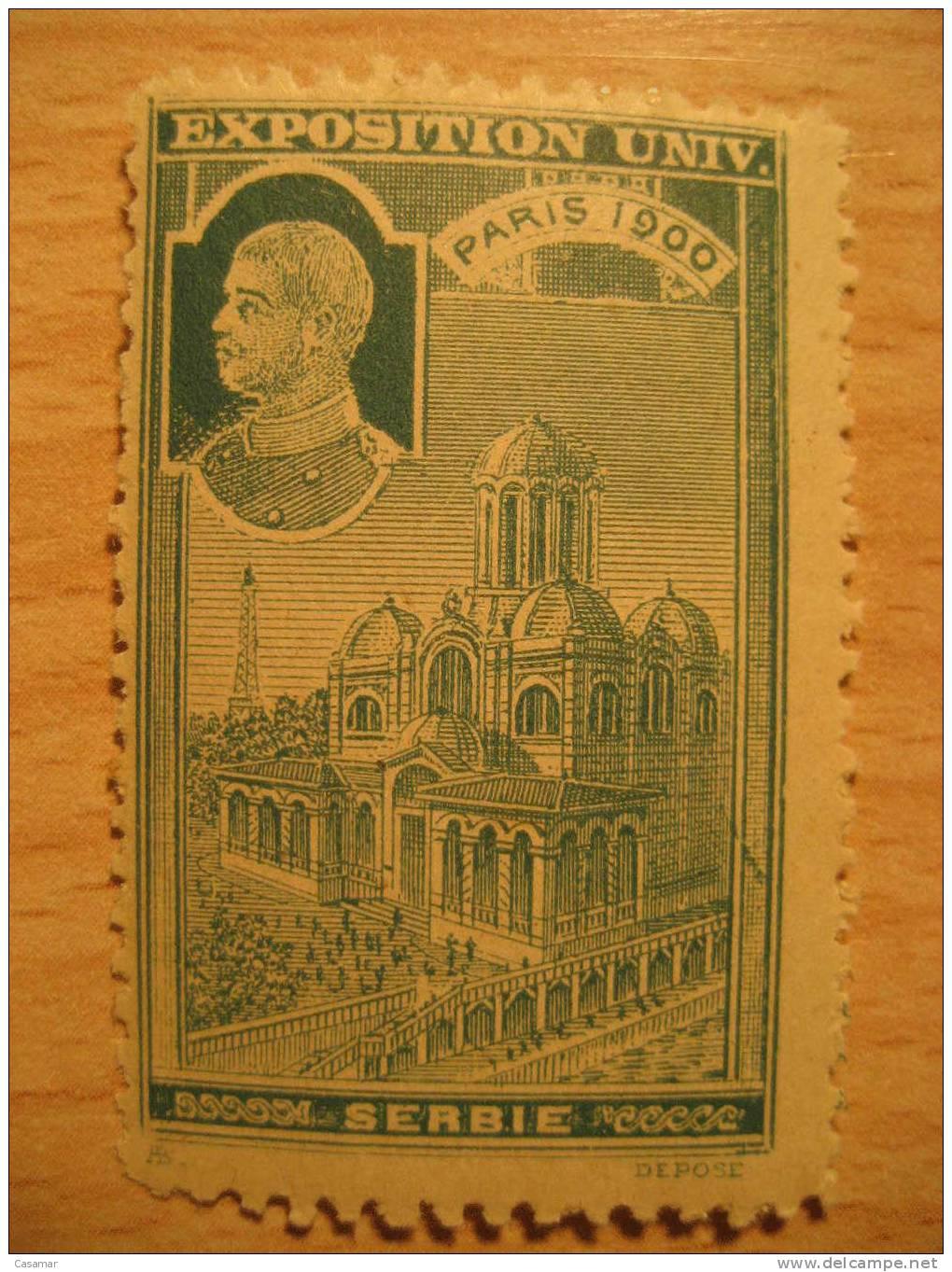 france paris 1900 serbie serbia exposition universelle poster stamp label vignette vi eta. Black Bedroom Furniture Sets. Home Design Ideas