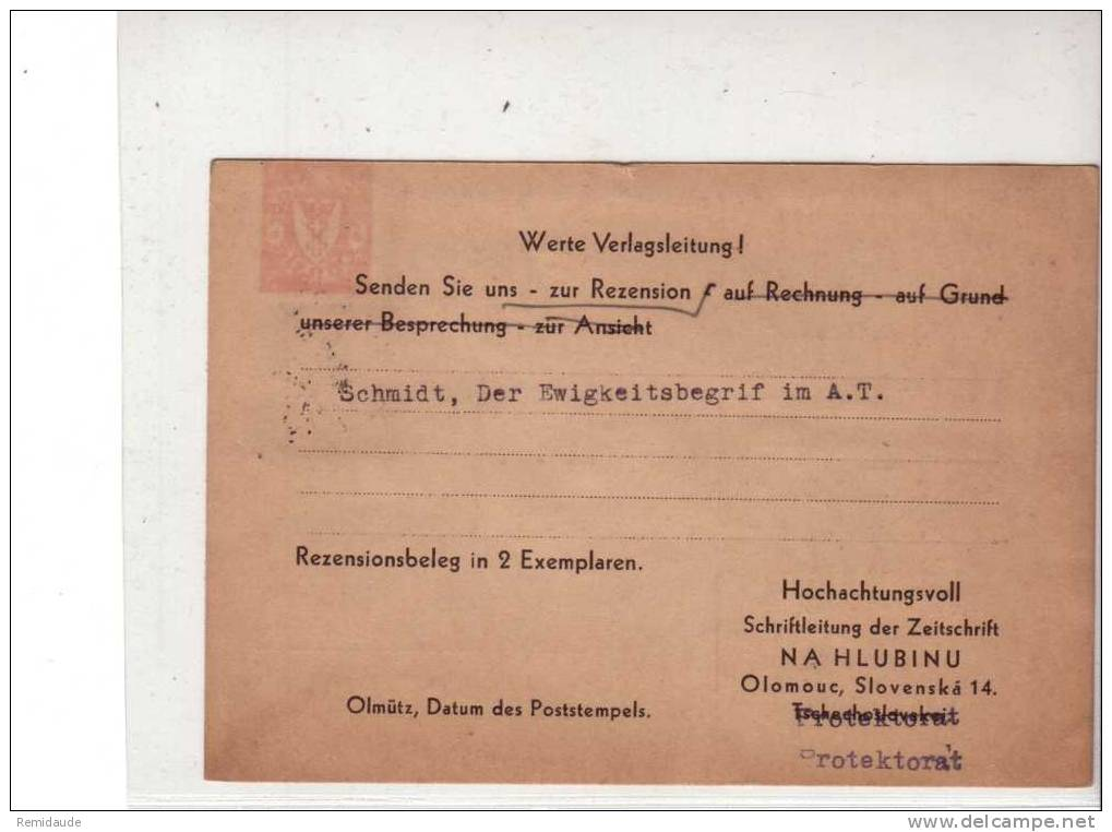 BÖHMEN Und MÄHREN - 1940 - CARTE POSTALE PUBLICITAIRE De OLOMOUC Pour Münster (Westphalie) - Bohême & Moravie