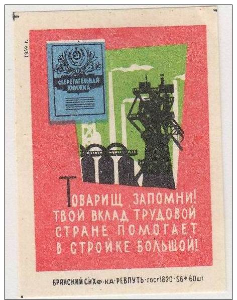 RUSSIA - Industry - 1959 - Matchbox Labels
