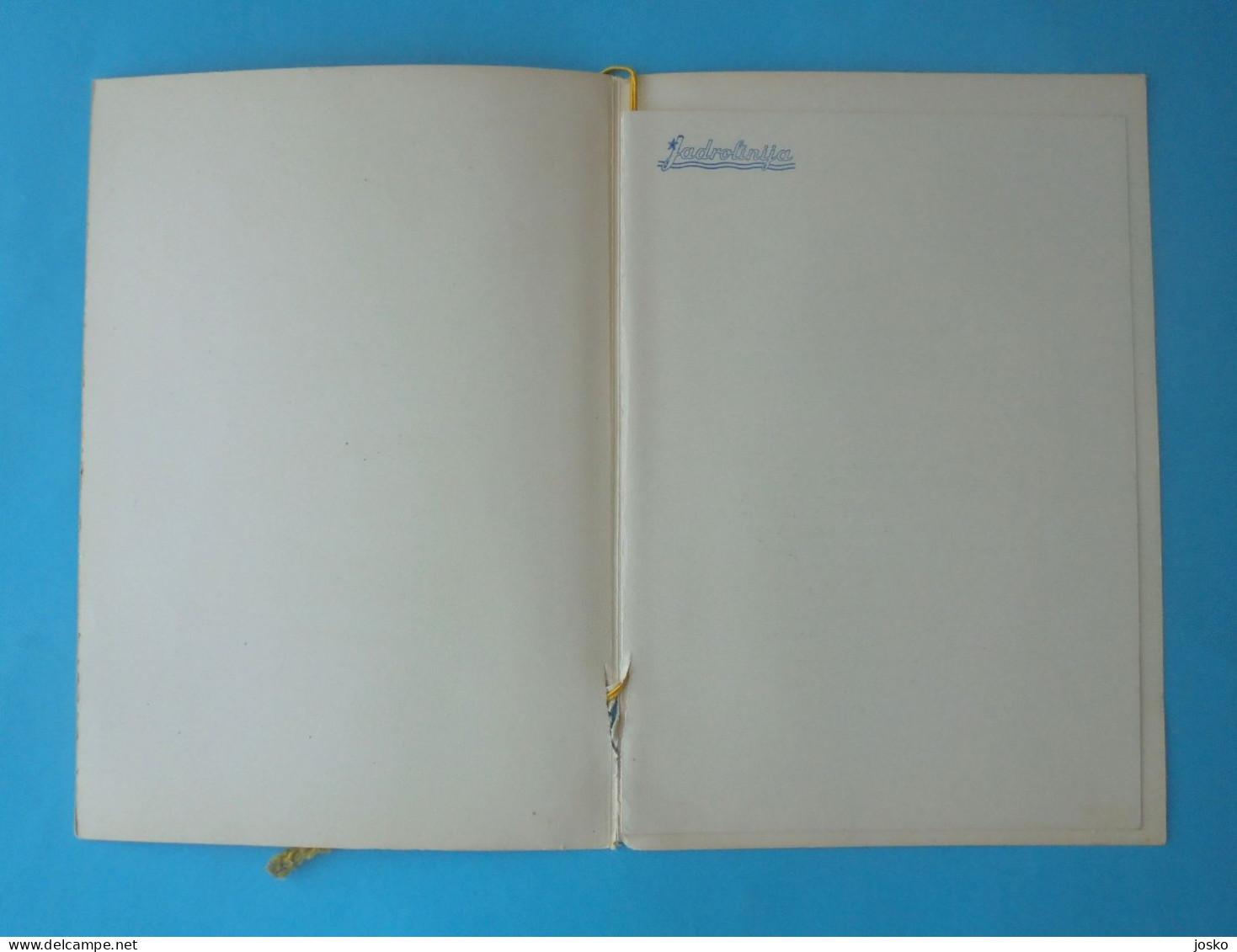 JADROLINIJA ( Croatian Shipping Company ) - WINE LIST 1964. Ship M/s JEDINSTVO * Carte Des Vins Weinkarte Lista Dei Vini - Boats