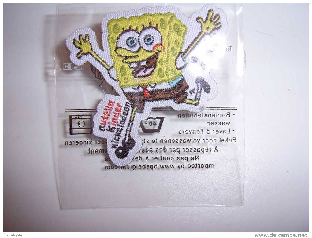 "1 étiquette /  Badge  Tissu :   ""  BOB  L´EPONGE  -  NIKELODEON   ""     NUTELLA - Nutella"