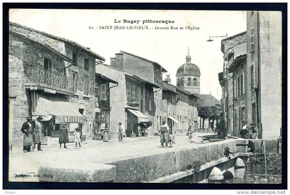 CPA.Le Bugey Pittoresque.  St-JEAN-le-VIEUX. Grande Rue Et L'Église. / Ed. L. Ravier  Bourg. - France