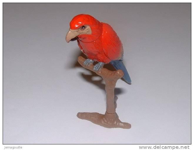 Figurine - Perroquet Rouge Orange Bleu - Hauteur 6,5 Cm - Oiseaux