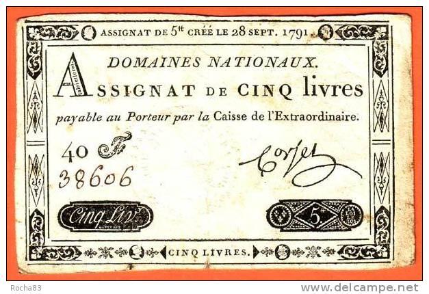 ASSIGNAT - 5 Livres Du 28 Septembre 1791 - Royal Timbre Sec LOUIS XVI - Assignats & Mandats Territoriaux