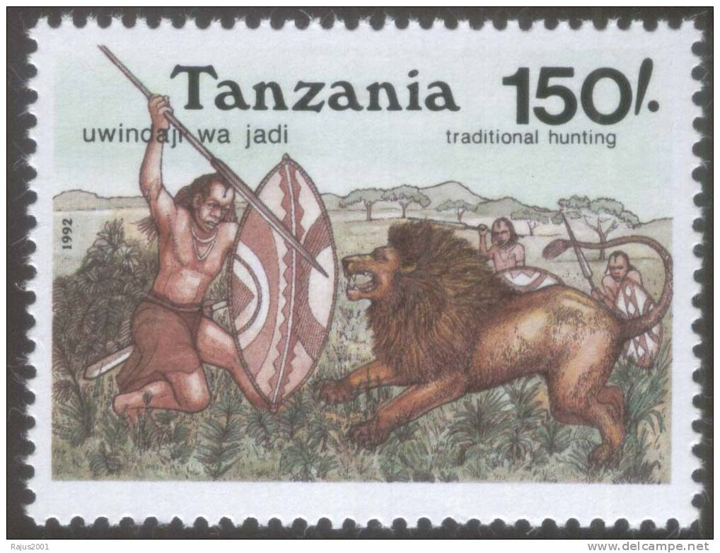 Traditional Hunting Tools,Spear And Shield Used On Lion, Wild Animal  MNH Tanzania - Big Cats (cats Of Prey)