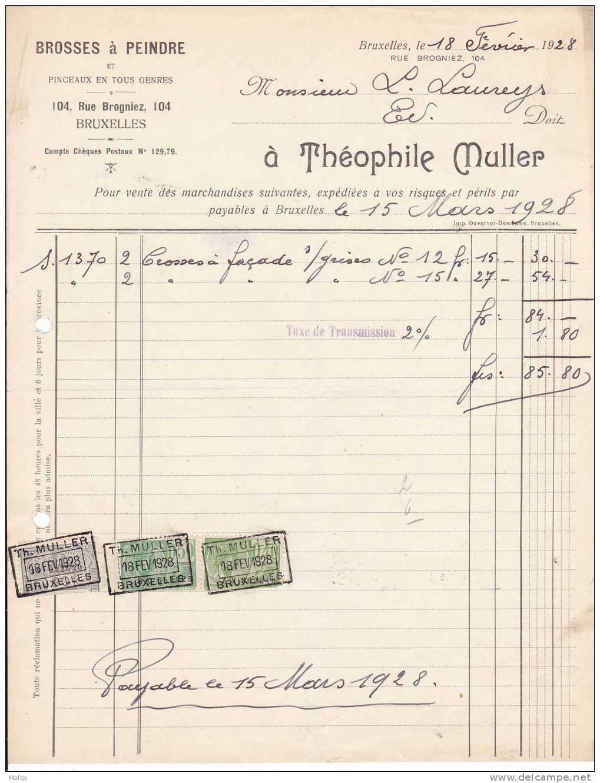 Théophile MULLER - BROSSES A PEINDRE - 104 RUE BROGNIEZ BRIXELLES - Belgique