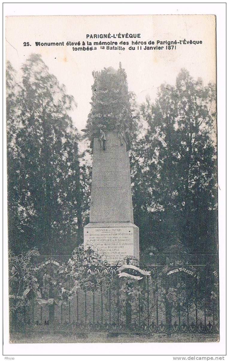 *1474*   PARIGNE-L'EVEQUE : Monument Eleve A La Memoire Des Heros - Le Mans