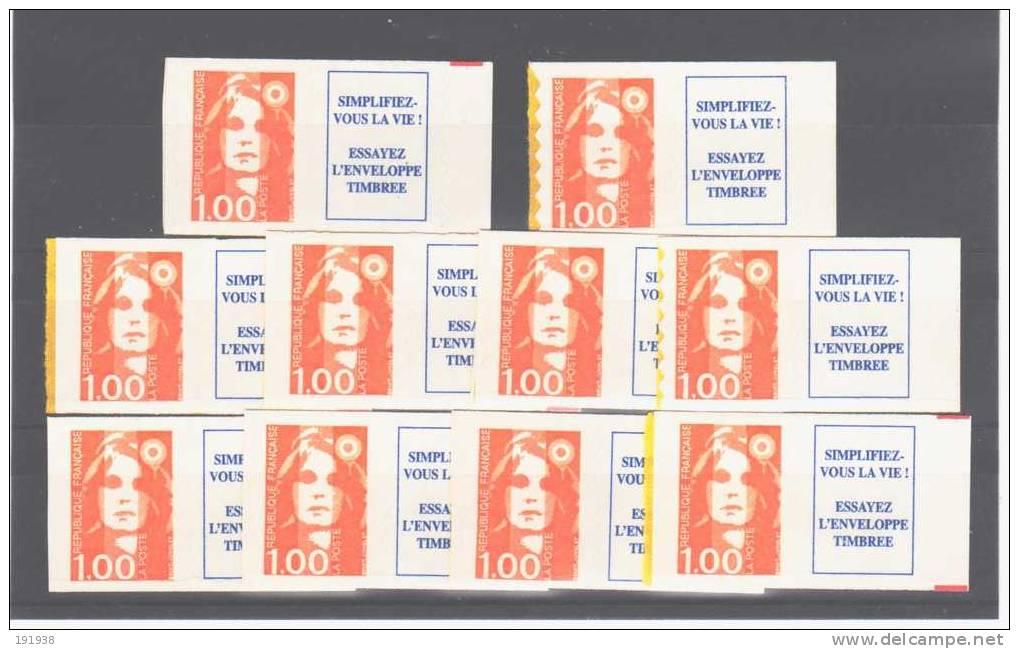 3009a** X 10, Superbes - 1989-96 Marianne Du Bicentenaire