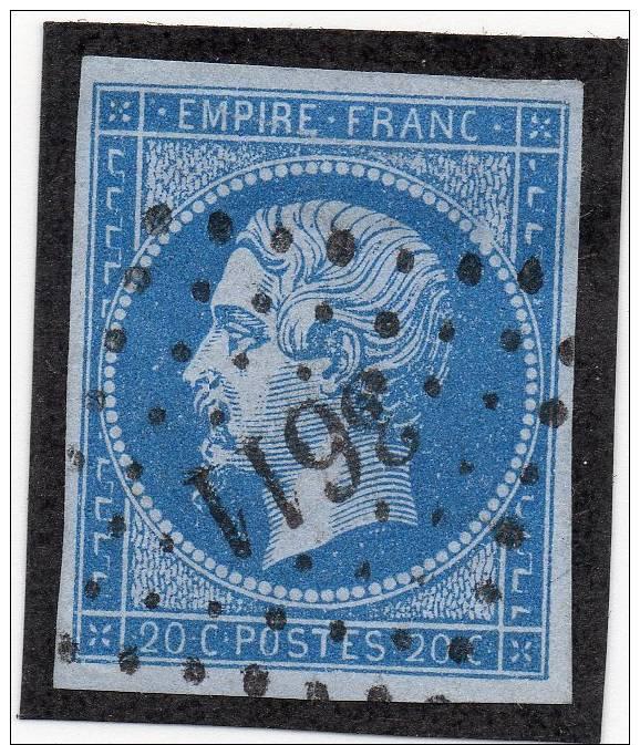 NAPOLEON  N° 14 TYPE II BLEU SUR LILAS PC 3611 VILLEFRANCHE SUR SAÔNE + VARIETE SIGNE - 1853-1860 Napoléon III