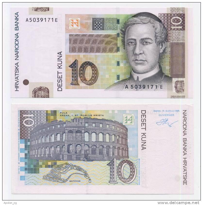 CROATIA - KROATIEN, 10 Kuna 15.1.1995 UNC *Not Common Banknote Today ! - Croatia
