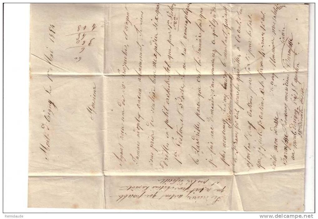 NAPOLEON III - 1854 - YVERT N°15 (RARE) Sur LETTRE De ORIGNY PC2339 (AISNE) Pour PARIS - COTE = 500 Euros - Marcophilie (Lettres)