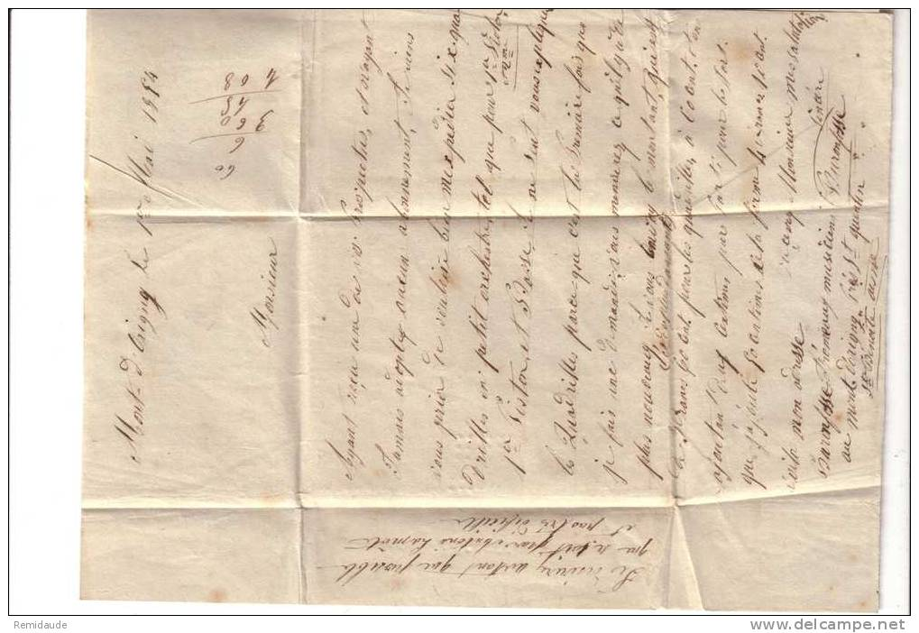 NAPOLEON III - 1854 - YVERT N°15 (RARE) Sur LETTRE De ORIGNY PC2339 (AISNE) Pour PARIS - COTE = 500 Euros - 1849-1876: Periodo Classico