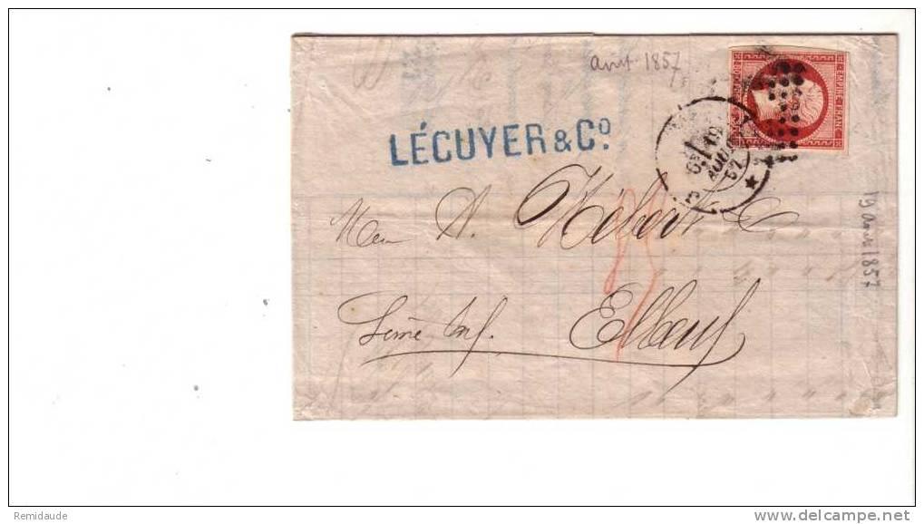 NAPOLEON III - 1859 - YVERT N°17Ab (Carmin Rose) Seul Sur LETTRE De PARIS J Pour ELBEUF 3° ECH - COTE DALLAY = 130 Euros - Marcophilie (Lettres)