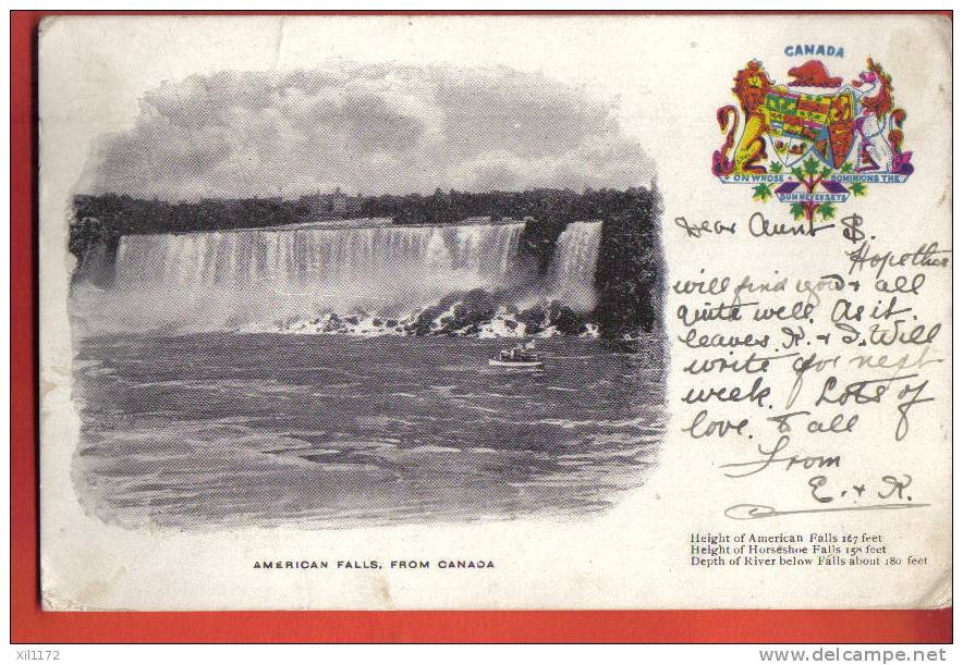 G1194 American Falls From Canada.Pioneer. Circulé. - Chutes Du Niagara