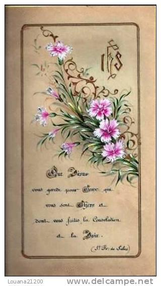 """IMAGE PIEUSE """"Que Jésus Vous Garde..."""" (Oeillets, Enluminures)_lou2 - Devotion Images"""