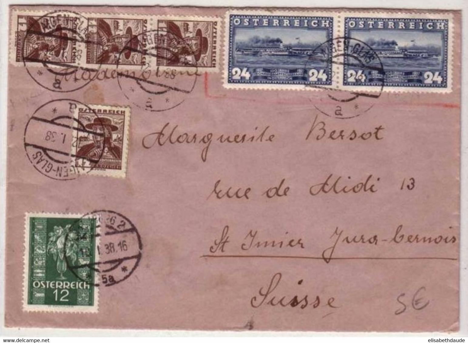 AUTRICHE - 1938 - ANK N°573x4+640x2+658 Sur DEVANT De LETTRE De AIGEN-GLAS Pour La SUISSE (JURA) - Storia Postale