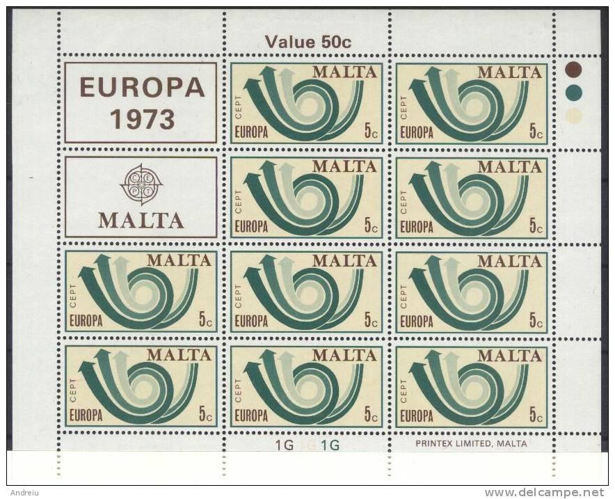 1973  Malta , Europa CEPT, Block Of 10v.  MNH - Malta