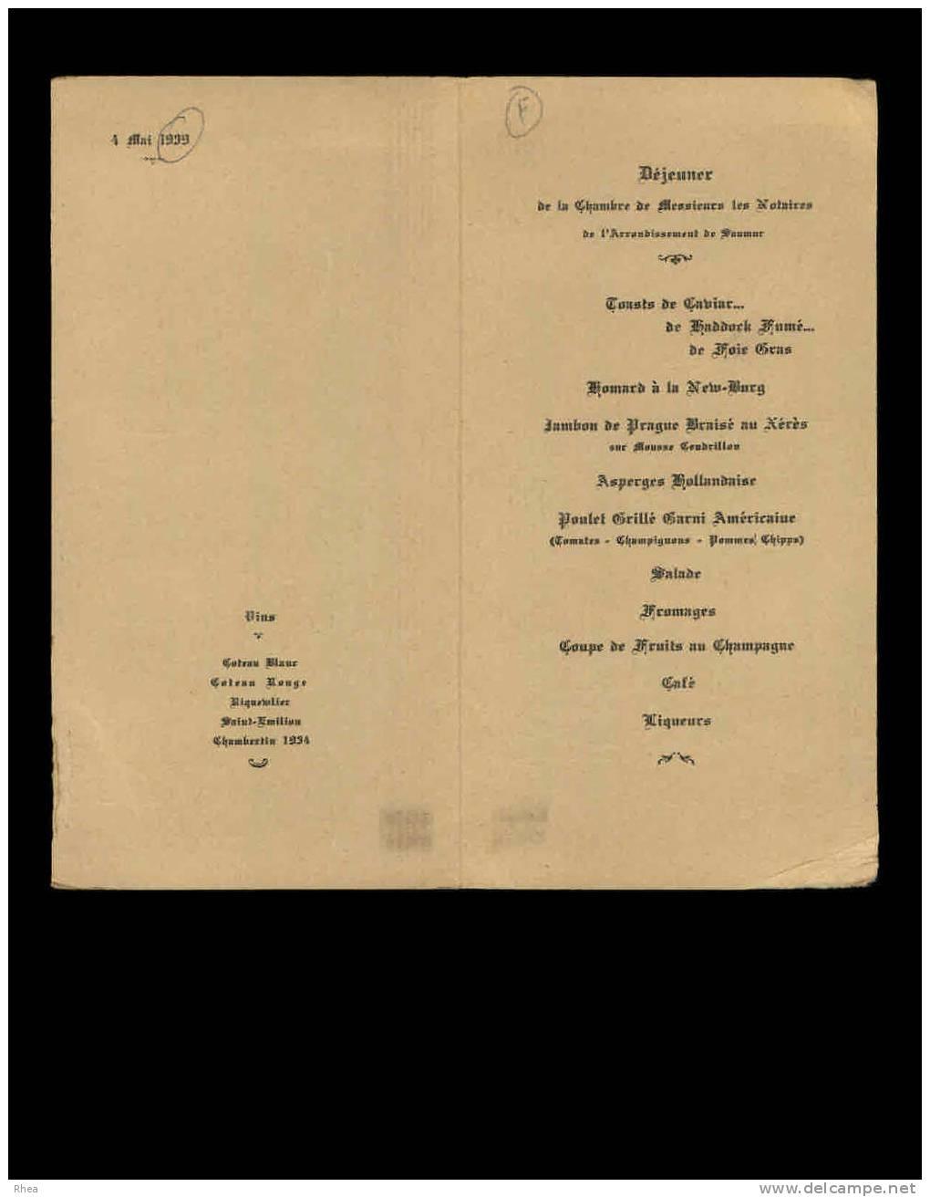 49 - LES ROSIERS-SUR-LOIRE - Menu De L´Hostellerie Des Ducs D´Anjou - 1939 - Menus