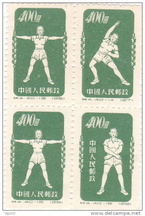 China Volksrepublik 1952 Radio-Gymnastik  Block Postfrisch / MNH - Unused Stamps