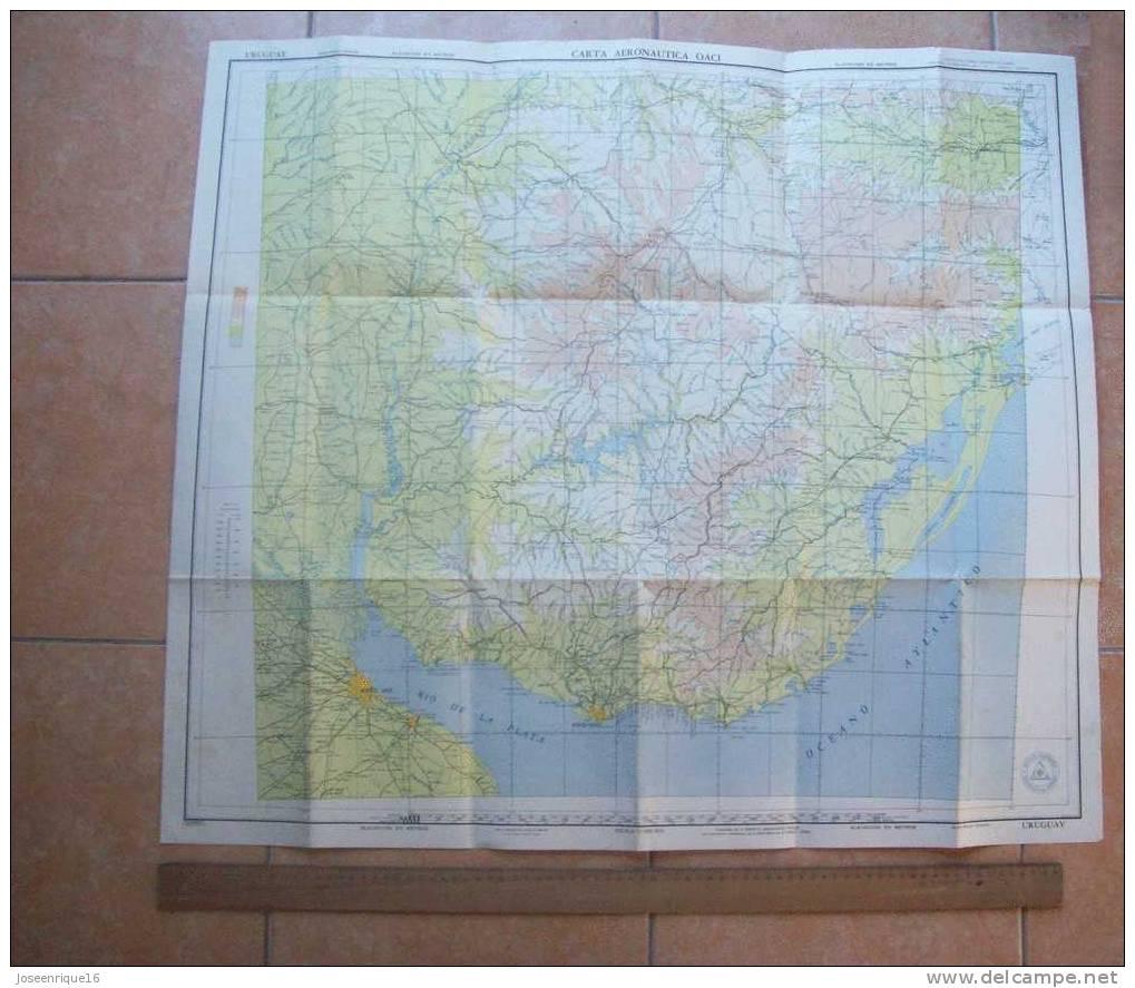 1957 MAP. MAPA URUGUAY, INSTITUTO GEOGRAFICO MILITAR - World