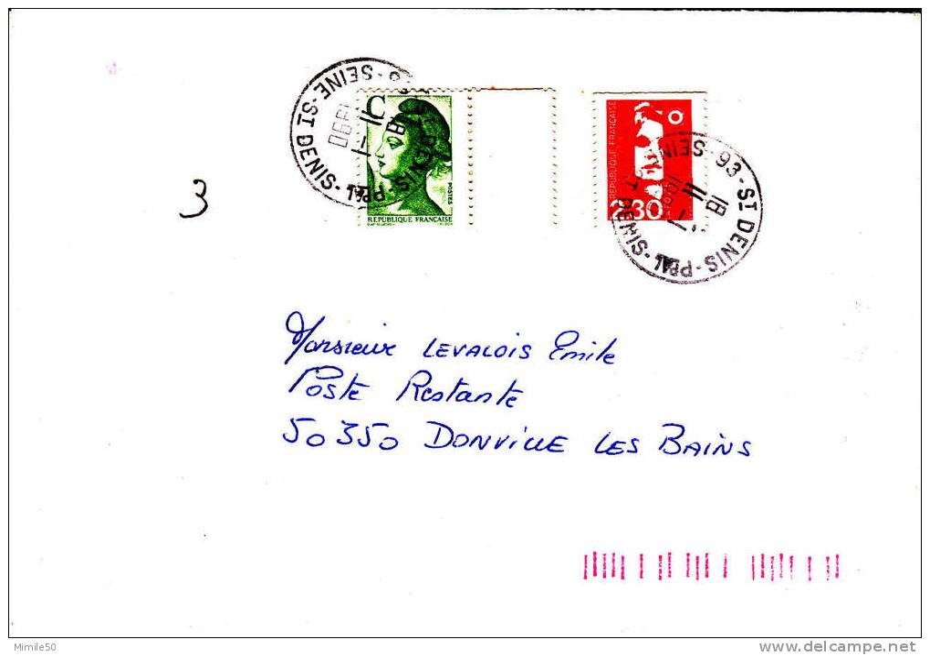 PNU 2600+2617 St Denis Pal                Donville Poste Restante - Marcophilie (Lettres)