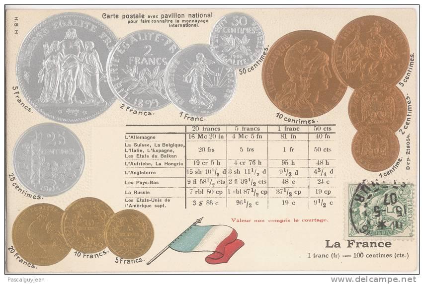 CPA MONNAYAGE INTERNATIONAL - FRANC - PAVILLON NATIONAL - Monnaies (représentations)