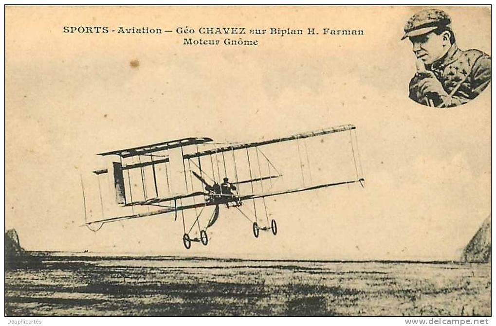 Géo Chavez Sur Biplan Farman. Sports Aviation. 2 Scans. - ....-1914: Precursors