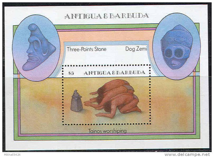 0157 Artefacts Religie History 1985 Antigua S/s MNH ** - American Indians