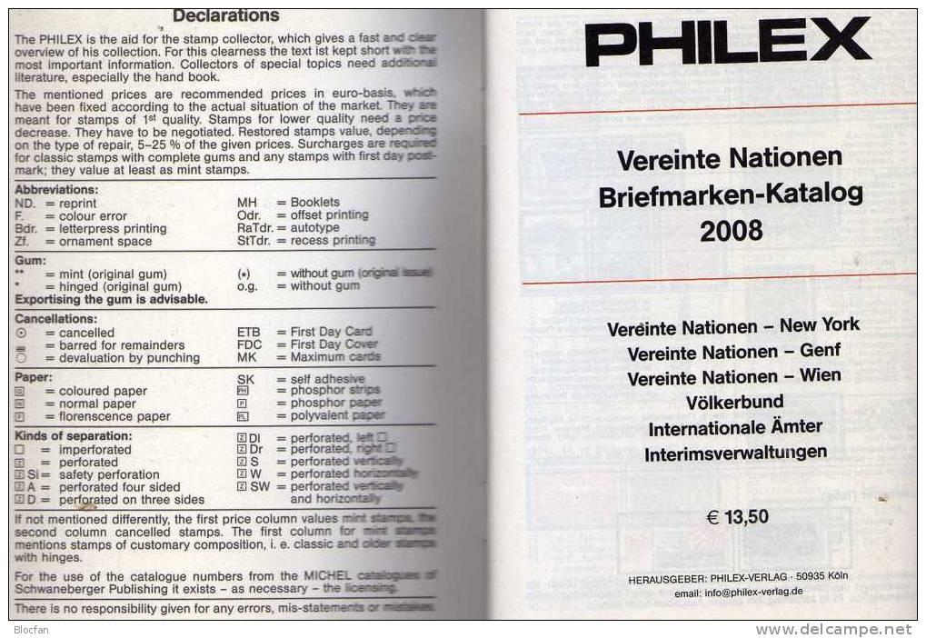 Philex Katalog 2008 Briefmarken UNO-Vereinte Nationen 14€ New York Wien Genf Völkerbund UN Catalogue From Germany - Catalogi