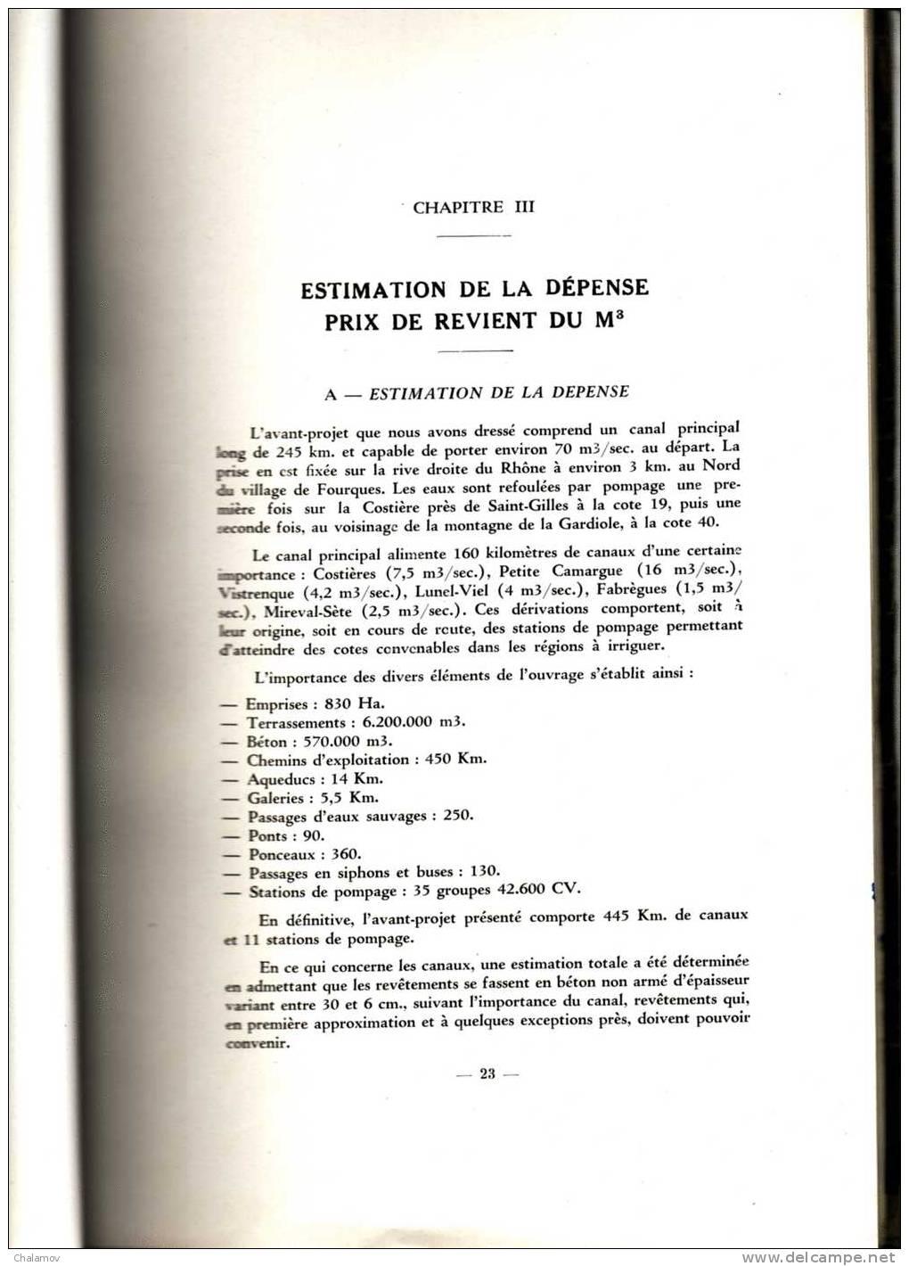 CANAUX Du BAS-RHÔNE -- LANGUEDOC , Avant-projet , Mémoire Explicatif Par ASTIER , FABRE Et DEFORGES ( Nîmes 1953 ) - Travaux Publics