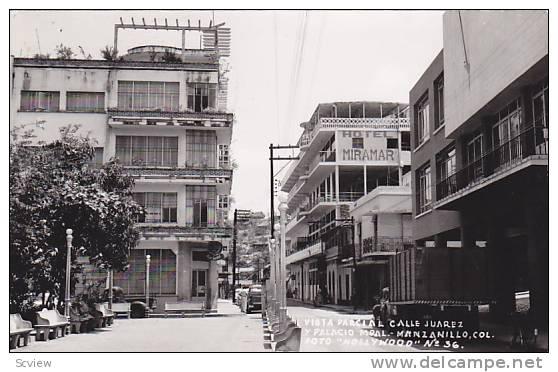 RP, Vista Parcial Calle Juarez Y Palacio, Hotel Miramar, Manzanillo, Colina, Mexico, PU-1957 - Mexiko