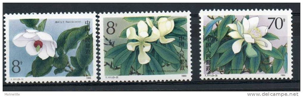 CHINE -  FLEURS MAGNIOLIAS - Yvert N° 2798/2800 ** Cote 2.60 € - Plants