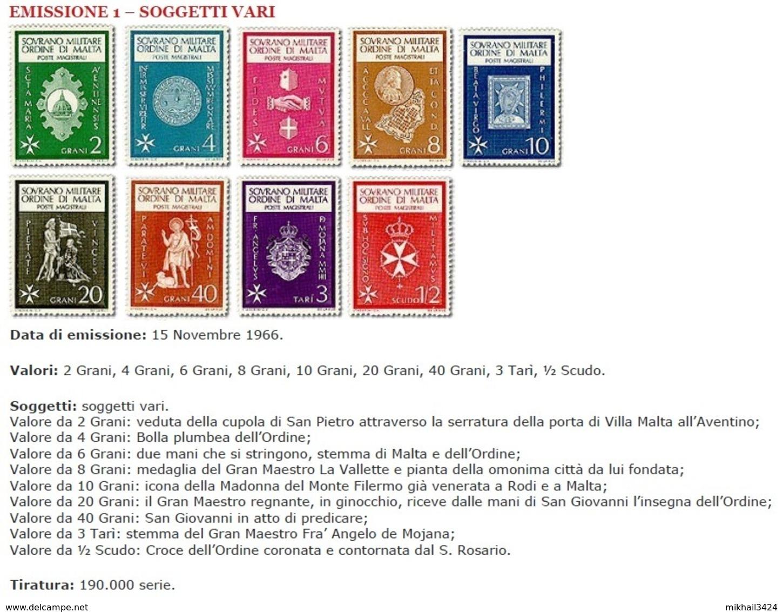 M2588 Arms Icone Coins 1966 SMOM 9v Set MNH ** - Malte (Ordre De)