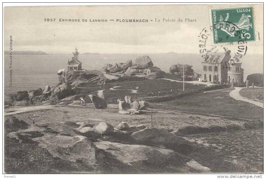 CPA Ecrite 1911 Ploumanach, Cotes D'Armor (22) - Environs De Lannion, La Pointe Du Phare - Ploumanac'h