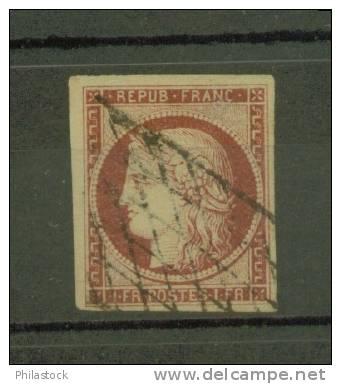 FRANCE N° 6 Obl. Grille Sans Fin Signé Calves & JF. Brun - 1849-1850 Ceres