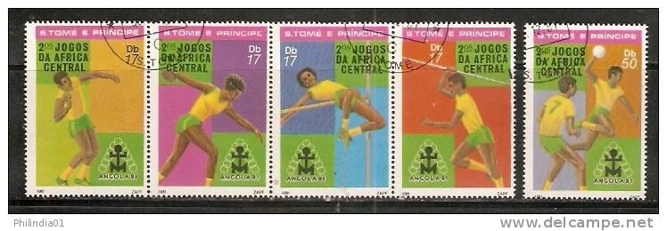 Sao Tome E´ Principe 1981 Sports Javelin Discus Handball Sc 638-39 Cancelled St. Thomas & Prince Is. ++ 923-85a - Sin Clasificación