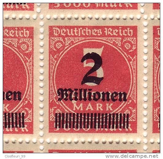 Schöne Abart, Einschnitt, Kerbe Auf Dem Kopf Des 2, Teilbogen Inflation 1923 H 5515.23, Mit Gummi, Mi. 312 - Germany