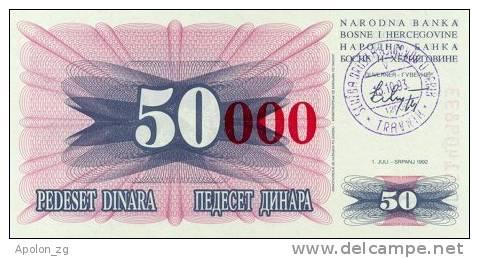 BOSNIA:  50 000 Dinara On 50 Dinara, 1993 UNC *P55b * 13mm High Red Zeroes - 15.10.1993 - Bosnia And Herzegovina