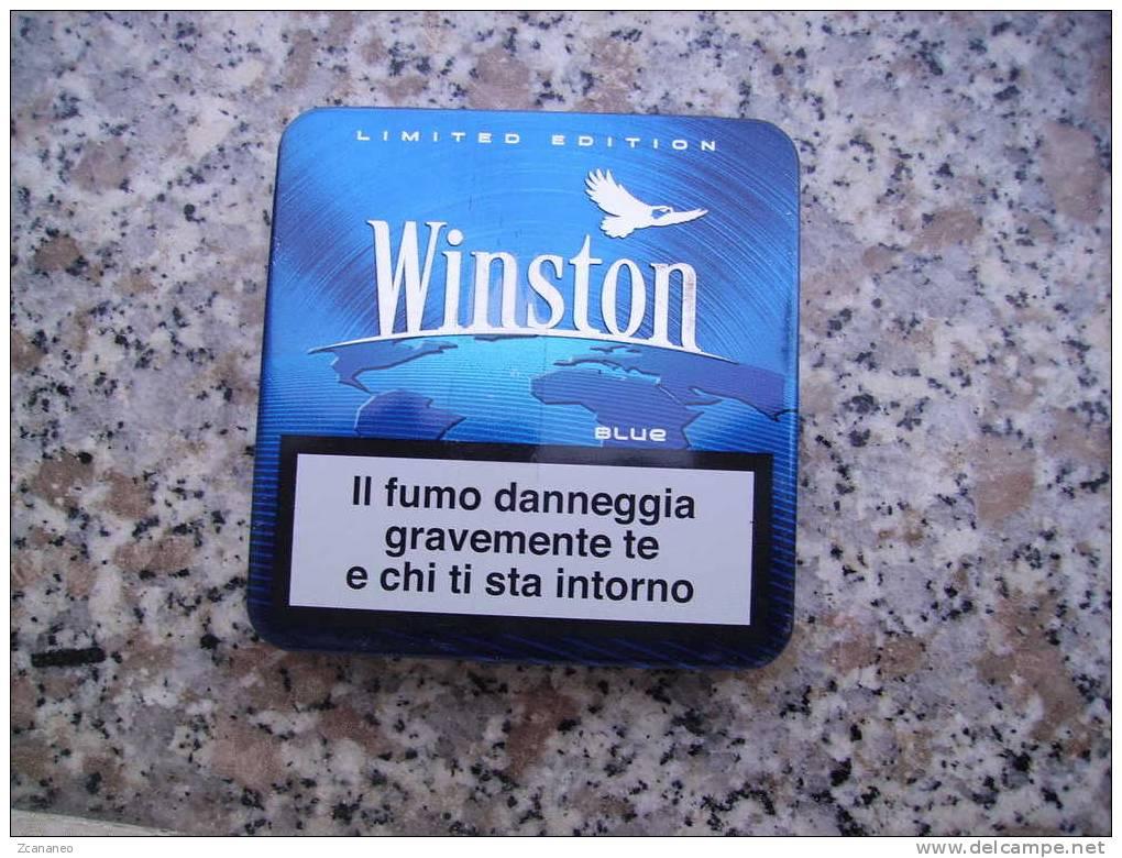 VECCHIO PACCHETTO DI SIGARETTE IN LATTA VUOTO - WINSTON BLUE - - Contenitori Di Tabacco (vuoti)