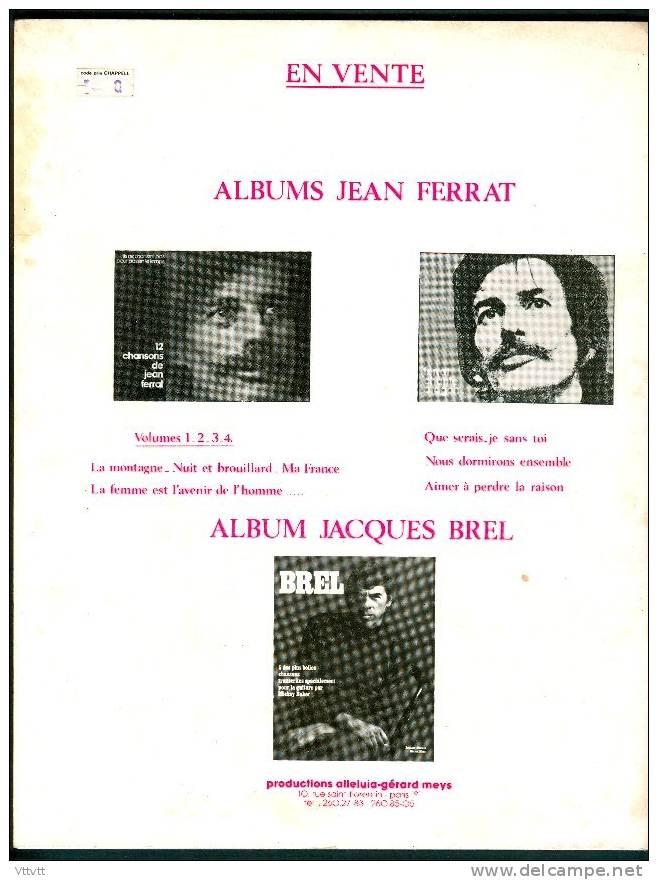 Partitions : Livret JEAN FERRAT (1979), 12 Chansons (21,5 Cm X 28 Cm), Edition Alleluia, Gerard Meys, 52 Pages, TBE - Partitions Musicales Anciennes