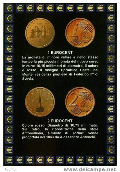 Carte Postale Euro Monnaies Italiennes 1 Et 2 Centimes Soldi Monete - Monnaies (représentations)