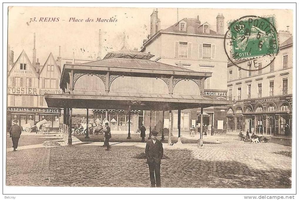 (51) REIMS - Place Des Marchés - Hall - Fossier Biscuits - Société Générale - Place Pavée - Reims
