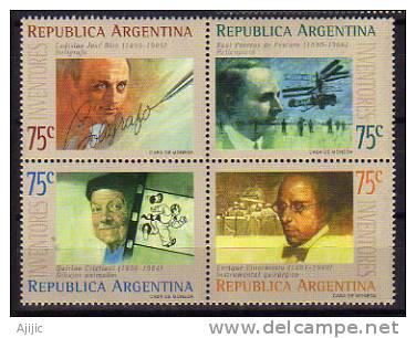 Inventeurs Argentins: LJ Biro (stylo A Bille) Pateras De Pescara (Helicoptere) Q.Cristiani (Dessin Anime) Etc. 4 T-p ** - Non Classés