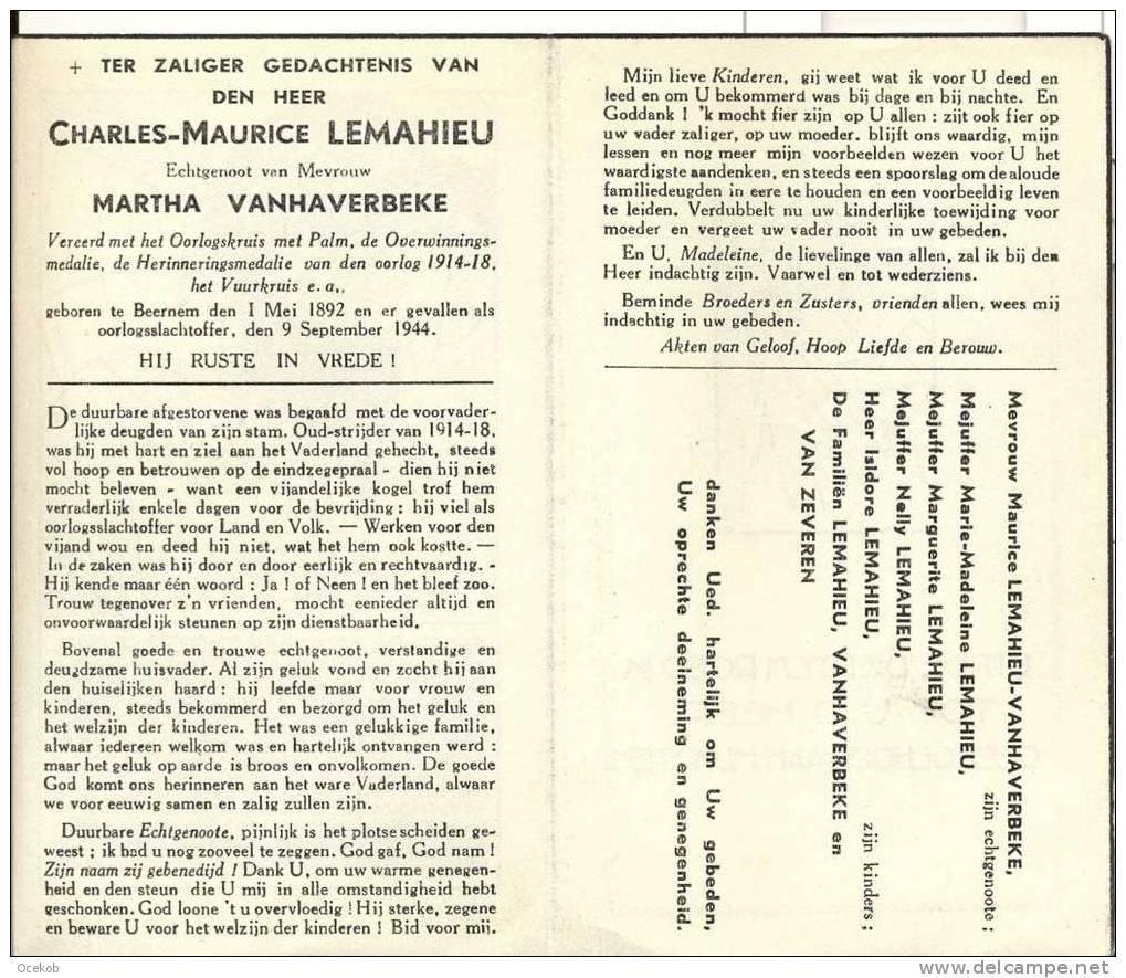 Doodsprentje Oorlogsslachtoffer Beernem Charles-Maurice Lemahieu  1892-1944 - Religion & Esotérisme